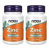 2x NOW Foods Zink | 50mg hochdosiert | 100 Tabletten je Dose (insg. 200 Stück) | Haut Haare Nägel vegan Immunsystem Knochen | Nahrungsergänzungsmittel (2er Pack)