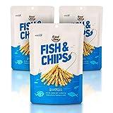 Fisch und Chips Snack aus echtem Fisch [3 Beutel] knusprig und gesund, kalorienarmes Fingerfood, asiatischer Snack für unterwegs, von [FRIED SEA], nur 220 Kalorien, Made in Korea