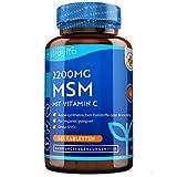 MSM Hochdosiert 2200mg mit Vitamin C - 365 Tabletten - PREIS-LEISTUNGSSIEGER '21* - Kompakteres MSM Pulver als bei Kapseln - Vegan - Laborgeprüfte - OHNE Zusätze