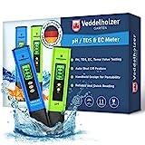 Veddelholzer pH Wert Messgerät pool Thermometer, pH TDS EC und Temperatur 4 in 1 Set, ph Tester(ATC) für Trinkwasser/Schwimmbad/Aquarium/Pool, Leitwertmessgerät mit hoher Genauigkeit und LCD Display