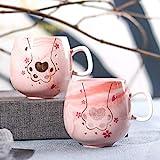 mglxzxxzc Paar Katzenkralle Wassertasse Flamingo Einzeltasse Marmorierte Keramiktasse Kreative Haushalt Kaffee Milchtasse-U0221Rosa