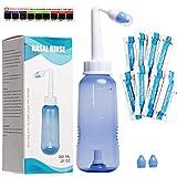HOUSON Nasendusche Set 300ml mit 20x Nasenspülsalz und Thermometer-Aufkleber für Erwachsene und Kinder