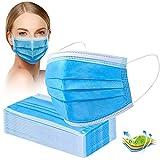 Crom Cr2 Masken Mundschutz - Farbe : BLAU/SCHWARZ - Mundschutz 50 Stück, 3-lagige Masken, Mundschutz, Maske, Einwegmasken