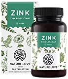 NATURE LOVE® Zink - 365 Tabletten (1 Jahr) - Hochdosiert (25mg): Zink-Bisglycinat (Zink Chelat) von Albion® - Hoch bioverfügbar, vegan, laborgeprüft, in Deutschland produziert