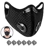 Yeswell 1 Stück Staubmaske Fahrrad Maske mit 6 Stück Aktivkohlefilter Baumwolle, Allergie Maske Gesichtsschutz Staubdicht Maske für Radfahren Laufen Fitness Outdoor-Aktivitäten