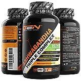 Ashwagandha Triple Extrakt Komplex - Premium: Ultra hochdosiert mit 1520 mg - Shoden® Ashwagandha-Wurzelextrakt (35% Withanolide) + Bio Ashwagandha Pulver + Piperin - 120 Kapseln - Vegan