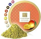 Tea Uniqo - Mango Matcha Pulver – Ideal für Eis, Latte, Shakes, zum Backen, Kochen oder pur Trinken – Grüntee Pulver mit Mango Geschmack, 100% natürlich in wiederverschließbarer Dose