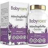 BABYFORTE® Mönchspfeffer Kapseln - 180 Stück - Premium: 10:1 Extrakt - Vegan - 10 mg Mönchspfeffer hochdosiert - Vitex Agnus Castus