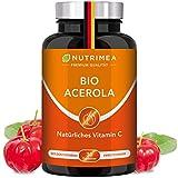 ACEROLA BIO Lutschtabletten   Natürliches Vitamin C Hochdosiert 1000mg   Reines Pulver Frucht-Extrakt aus Acerolakirsche   Tablette 100% VEGAN Cherry Kirsche Geschmack - Immunsystem Energie Kinder