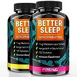 Melatonin Lutschtabletten 240x - Zitrone + Himbeere 2er-Pack - 1mg Melatonin pro Tablette + Magnesium, L-Theanin und Glycin - zuckerfrei gesüßt, 100% vegan - Vorrat für 16 Monate - BETTER SLEEP