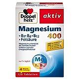 Doppelherz Magnesium 400 + B1 + B6 + B12 + Folsäure – Magnesium als Beitrag für die normale Muskelfunktion und den Energiestoffwechsel – 1 x 120 Tabletten