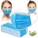 Crom Cr2 Masken Mundschutz - Farbe : BLAU/SCHWARZ - Mundschutz 50 Stück, 3-lagige Masken, Mundschutz, Maske, Einwegmasken (50 Blau)
