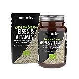 PREMIUM EISEN & VITAMIN C, hochwertiges Eisenbisglycinat plus Vitamin C, hohe Bioverfügbarkeit, für Energiestoffwechsel und Immunsystem (60 Tabletten)