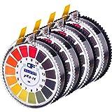 Universelle pH Testpapier Streifen pH-Teststreifen Rolle, pH-Messung Vollbereich 0 - 14, 16,4 ft/ Rolle (4 Rollen)