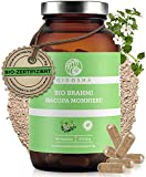 QIDOSHA® Brahmi Bio Kapseln hochdosiert 500mg Brahmi Pulver pro Kapsel aus Bio Brahmi, vegan, laborgeprüft, 180 Kapseln (Glas)