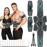 fayleer EMS Trainingsgerät Bauchmuskeltrainer Elektrisch USB Wiederaufladbar Bauchtrainer Muskelstimulator Trainingsgerät für Bauch Arme Taille Beine Hüften mit 10 Modi 20 Intensitäten 14PC Gel Pad