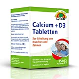 SUNLIFE Calcium + D3 Tabletten: Nahrungsergäzungsmittel mit Calcium und Vitamin D3, 150 Tabletten