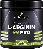 L-Arginin 99 PRO - 360 vegane Kapseln - pflanzliche L-Arginin Base ohne Magnesiumstearat - Aminosäure mit 99% Wirkstoff hochdosiert in bester Premiumqualität