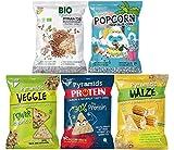 POPCROP Party-Mix Chips Box 8er Pack   2xProtein, 2xVeggi, 2xMais, 1xBio Buchweizen, 1 x Bio Popcorn aus Blauem Mais   Glutenfrei, Vegan, Rein, NICHT FRITTIERT, ohne Zugabe von Zucker