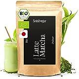 Bio Latte Matcha Pulver   Premium Qualität   Bio Grüntee Pulver der ideale Kaffee-Ersatz   Original japanisches Matcha Pulver ohne Zusatzstoffe & laborgeprüft   100g sehr fein gemahlen