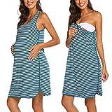 Ekouaer Damen Umstandsnachthemd, ärmellos, gestreift, Nachthemd, Schwangerschaftskleid zum Stillen, Nachthemd (Schwarz, Medium) Gr. Small, blau / weiß