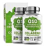 Kollagen mit Hyaluronsäure + Coenzym Q10 + Vitamin C + Resveratrol | Meereskollagen für strahlende Haut und gute Funktion von Knochen und Gelenken Meereskollagen | 180 Kapseln - Qualnat