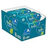 Pampers Fresh Clean Baby Feuchttücher, 640 Tücher (8 x 80) Mit Frischem Duft, Dermatologisch Getestet, Baby Erstausstattung Für Neugeborene