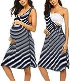 Ekouaer Damen Umstandsmode Ärmellos Nachthemd Streifen Nachthemd Schwangerschaft Kleid zum Stillen Nachthemd, navy, 42