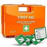 NEUE DIN 13157:2021 - Erste-Hilfe-Koffer inkl. 4 Aufklebern, Wandhalterung und 90 Grad Arretierung für Betriebe, öffentliche Einrichtungen & Zuhause in orange, Verbandkasten gefüllt