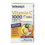 tetesept Vitamin C 1000 + Zink + D3 – Nahrungsergänzungsmittel zur Unterstützung des Immunsystems, dem Zellschutz und der Knochen – Vitamin Tabletten – 1 x 30 Tabletten
