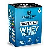 Bodylab24 Sample Box Whey Protein 8x30g / 80% Eiweißgehalt, reich an BCAAs / 8 Geschmacksvarianten zum Ausprobieren mit je 1 Portion / perfekt löslich, ideal zur Nutzung nach dem Training