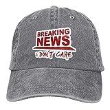 Leumius Breaking News Baseballkappe mit Aufschrift 'I Don't Care', Unisex, gewaschene Jeans, verstellbar, Vintage-Stil, Grau