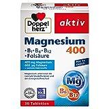 Doppelherz Magnesium 400 + B1 + B6 + B12 + Folsäure – Magnesium für die Muskeln, das Nervensystem und den Energiestoffwechsel – 1 x 30 Tabletten
