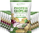 IronMaxx Protein Chips 40 - Sour Cream & Onion Geschmack -10er Pack / 10x 50g- High Protein, Low Carb, glutenfrei, fettarm und zuckerreduziert - 20g Protein pro Tüte