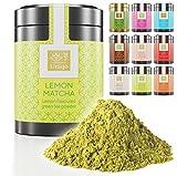 Tea Uniqo – Zitrone Matcha Tee Pulver – Ideal zum Trinken, für Eis, Latte, Shakes, zum Backen oder Kochen - Japanischer Grüntee Pulver mit Lemon Geschmack, ohne künstliche Farbstoffe in edler Dose
