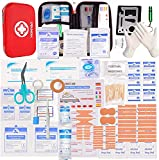 HONYAO Erste-Hilfe Set, Medizinisch Überlebens Kompakt Kit mit Leicht Harte Box für Auto Motorrad Zuhause Arbeitsplatz Draussen Camping Wandern Notfall Erste Hilfe(200 Stücke)