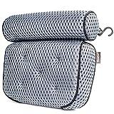 TraumOase® Badewannenkissen in grau und schwarz - Durch 4D-Air-Mesh und 5 starken Saugnäpfen extrem weich und sicher - Für Luxus in Badewanne oder Whirlpool - Das Kissen für deinen Nacken